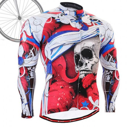 """""""The Skeleton"""" Red - FIXGEAR Long Sleeve Cycling Jersey."""
