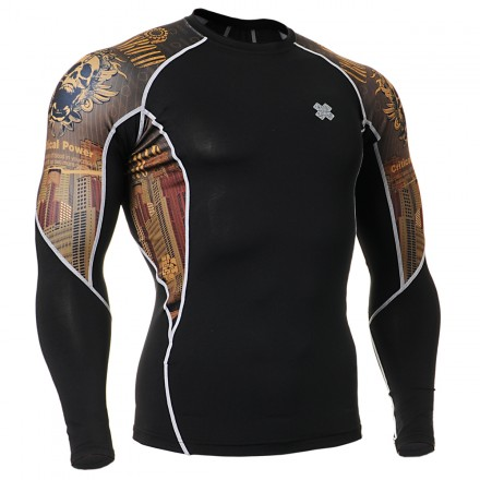"""Crossroad Skull"" - FIXGEAR Second Skin Technical Compression Shirt ."