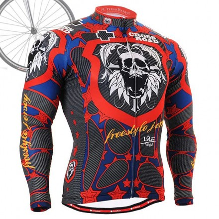 """Skull Star"" - FIXGEAR Long Sleeve Cycling Jersey."
