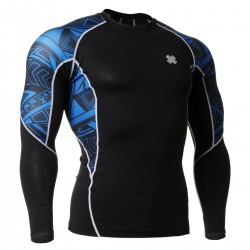"""Blue Geometry"" - FIXGEAR Second Skin Technical Compression Shirt ."