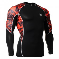 """Red Geometry"" - FIXGEAR Second Skin Technical Compression Shirt ."