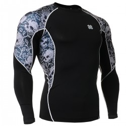 """Ivy Skulls"" - FIXGEAR Second Skin Technical Compression Shirt ."