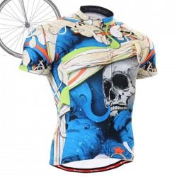 """El Esqueleto"" Azul - Maillot Ciclismo Manga Corta FIXGEAR."