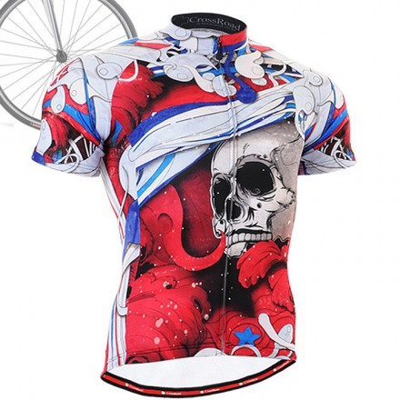 """""""The Skeleton"""" Red - FIXGEAR Short Sleeve Cycling Jersey."""