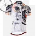 """Pinstripe Skull"" - FIXGEAR Short Sleeve Cycling Jersey."