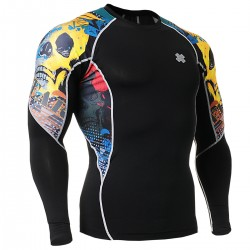 """Primary Skulls"" - FIXGEAR Second Skin Technical Compression Shirt ."