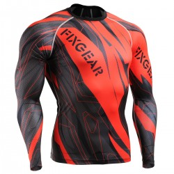 """Splinters"" FULL Red - FIXGEAR Second Skin Technical Compression Shirt ."