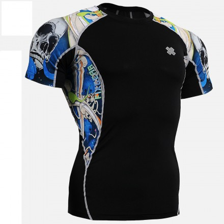 """""""The Skeleton"""" Blue - FIXGEAR Short Sleeve Second Skin Technical Compression Shirt."""