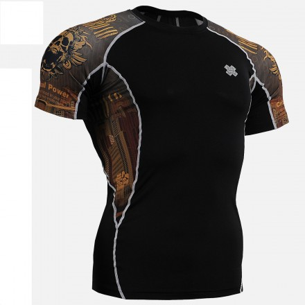 """Crossroad Skull"" - FIXGEAR Short Sleeve Second Skin Technical Compression Shirt ."