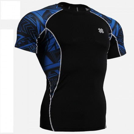 """""""Blue Geometry"""" - FIXGEAR Short Sleeve Second Skin Technical Compression Shirt ."""