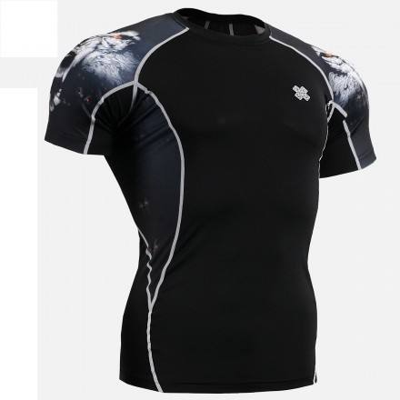 """Canis Lupus"" - FIXGEAR Short Sleeve Second Skin Technical Compression Shirt ."