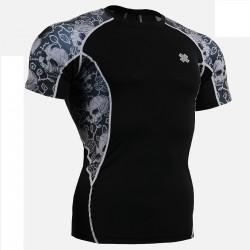 """Ivy Skulls"" - FIXGEAR Short Sleeve Second Skin Technical Compression Shirt ."
