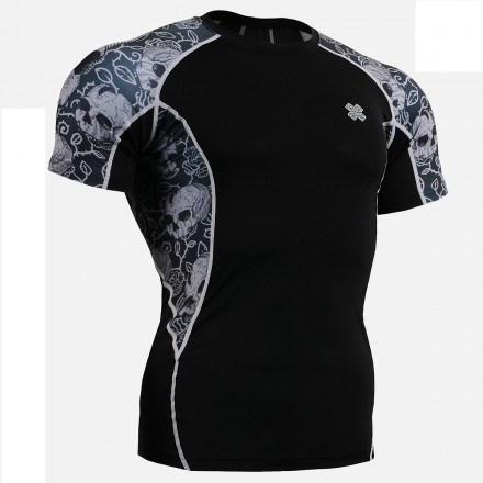 """Ivy Skulls"" - FIXGEAR Short Sleeve Second Skin Technical Compression Shirt ."