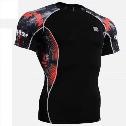 """""""Time Skull"""" - FIXGEAR Short Sleeve Second Skin Technical Compression Shirt ."""