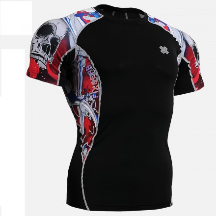 """""""The Skeleton"""" Red - FIXGEAR Short Sleeve Second Skin Technical Compression Shirt."""