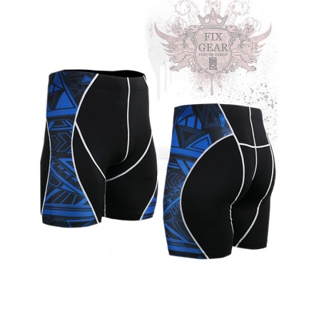 """""""Blue Geometry"""" - FIXGEAR Second Skin Technical Compression Shorts ."""