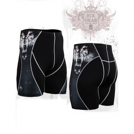 """""""Canis Lupis"""" - FIXGEAR Second Skin Technical Compression Shorts ."""