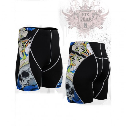 """The Skeleton"" Blue - FIXGEAR Second Skin Technical Compression Shorts ."