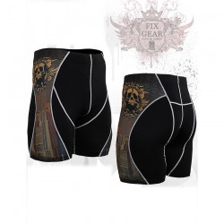"""Crossroad Skull"" - FIXGEAR Second Skin Technical Compression Shorts ."