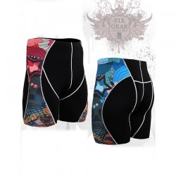 """Primary Skulls"" - FIXGEAR Second Skin Technical Compression Shorts."