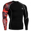 """""""Uni Geometría Roja"""" - Camiseta Técnica de Compresión Segunda Piel FIXGEAR."""