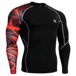 """Red Uni Geometry"" - FIXGEAR Second Skin Technical Compression Shirt ."