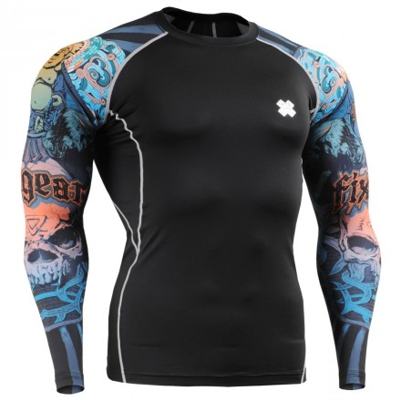 """""""Laughing Buddha"""" Sleeves - FIXGEAR Second Skin Technical Compression Shirt - Special MMA Design."""