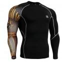 """Uni Crossroad Skull"" - FIXGEAR Second Skin Technical Compression Shirt ."