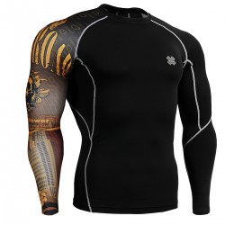 """Uni Crossroad Skull"" - FIXGEAR Second Skin Technical Compression Shirt ."
