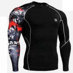 """""""Uni Calavera en el Tiempo"""" Negro - Camiseta Técnica de Compresión Segunda Piel FIXGEAR."""