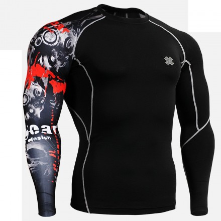 """Uni Time Skull"" Black - FIXGEAR Second Skin Technical Compression Shirt."