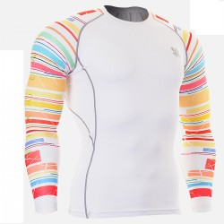 """Duo White RIngs""  - FIXGEAR Second Skin Technical Compression Shirt ."