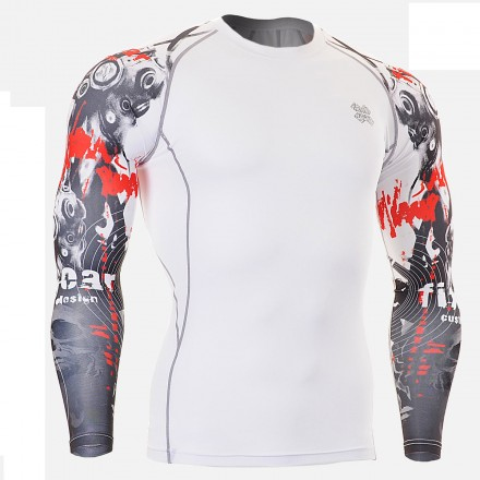 """""""Duo Time Skull"""" White - FIXGEAR Second Skin Technical Compression Shirt ."""