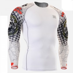 """Duo Thorned Skull"" White - FIXGEAR Second Skin Technical Compression Shirt."