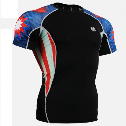 """Americanada"" Short Sleeve - FIXGEAR Short Sleeve Second Skin Technical Compression Shirt."