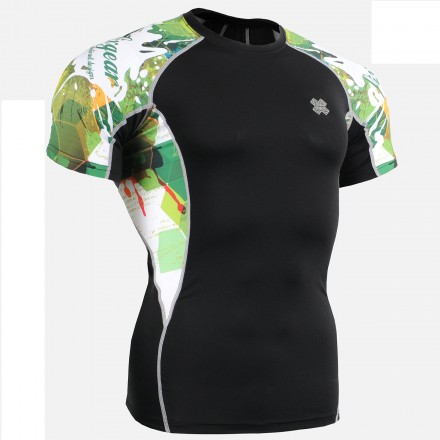 """""""Wounded Forrest"""" - FIXGEAR Short Sleeve Second Skin Technical Compression Shirt."""