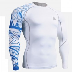 """Tribal Blue"" - FIXGEAR Second Skin Technical Compression Shirt ."