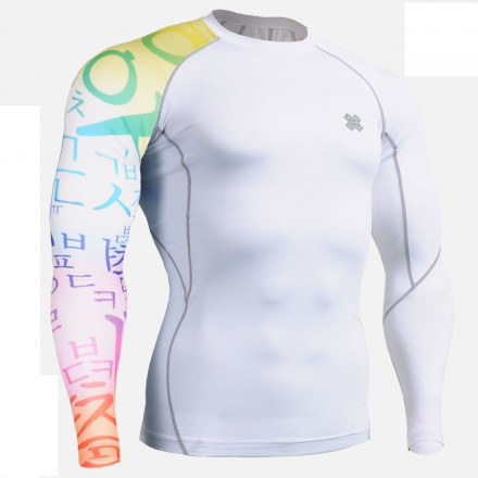 """White Asia"" - FIXGEAR Second Skin Technical Compression Shirt ."