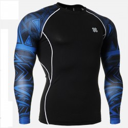 """Blue Duo Geometry"" - FIXGEAR Second Skin Technical Compression Shirt ."