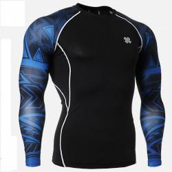 """Duo Geometría Azul"" - Camiseta Técnica de Compresión Segunda Piel FIXGEAR."