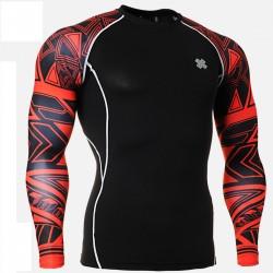 """""""Duo Geometría Rojo"""" - Camiseta Técnica de Compresión Segunda Piel FIXGEAR."""