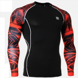 """Red Duo Geometry"" - FIXGEAR Second Skin Technical Compression Shirt ."