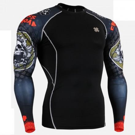 """""""Calavera Espinada"""" Negra - Camiseta Técnica de Compresión Segunda Piel FIXGEAR."""