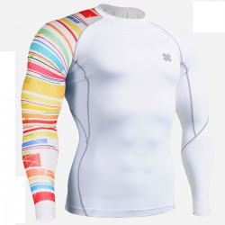 """White Rings"" - FIXGEAR Second Skin Technical Compression Shirt."