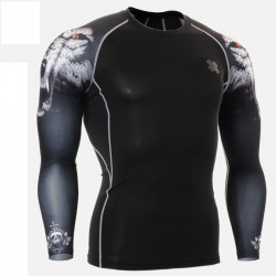 """Duo Canis Lupus"" - FIXGEAR Second Skin Technical Compression Shirt ."