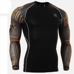 """Duo Crossroad Skull"" - FIXGEAR Second Skin Technical Compression Shirt ."