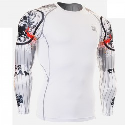 """Duo Pinstripe Skull"" - FIXGEAR Second Skin Technical Compression Shirt."