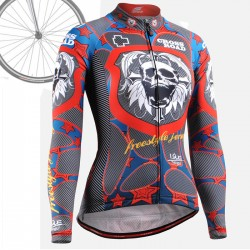 """Skull Star"" WOMAN - FIXGEAR Long Sleeve Cycling Jersey."
