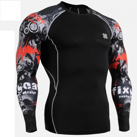 """Duo Time Skull"" Black - FIXGEAR Second Skin Technical Compression Shirt ."