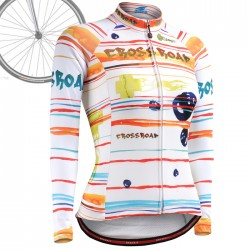 """Ribbons & Flames"" WOMAN - FIXGEAR Long Sleeve Cycling Jersey."
